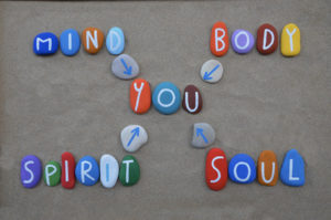 Mind, Body, Spirit, Soul and You text on colored stones